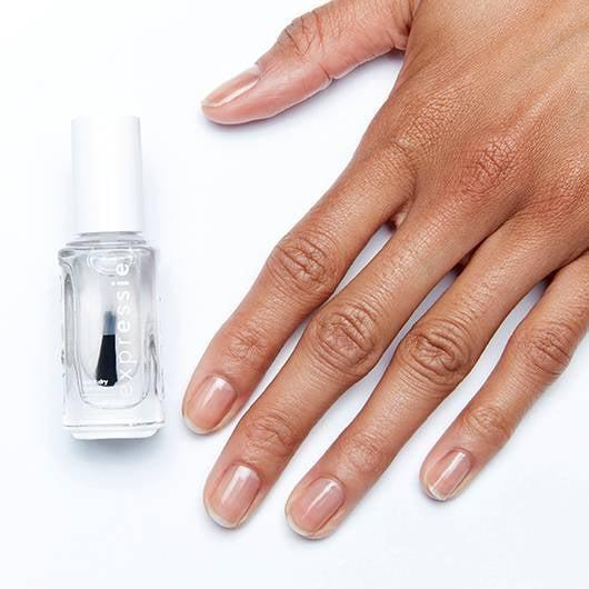 <p>Paint the broken nail with a coat of clear polish, like this quick-drying <span>Always Transparent</span> ($9) polish from Essie. Don't wait to let it dry.</p>