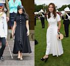 """<p>Jenna Coleman (a.k.a. Prince Harry's ex) made headlines when she wore the <a href=""""https://www.harpersbazaar.com/celebrity/latest/a23984915/meghan-markle-jenna-coleman-emilia-wickstead-dress-royal-tour/"""" rel=""""nofollow noopener"""" target=""""_blank"""" data-ylk=""""slk:same Emilia Wickstead dress his wife"""" class=""""link rapid-noclick-resp"""">same Emilia Wickstead dress his wife</a>, the Duchess of Sussex, wore in October 2018. However, Coleman opted for a more summery take on the frock by picking up the dress in white.</p>"""