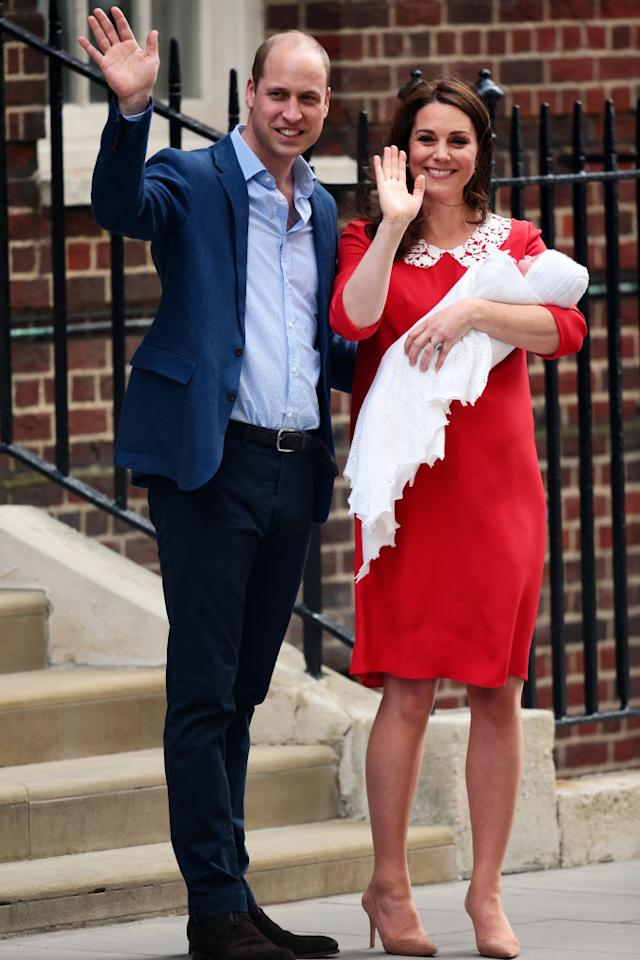 The Duke and Duchess of Cambridge made their third Lindo Wing exit on April 21, 2018 with Prince Louis who was born at 11:01am, weighing 8lbs 7oz. For the historic moment, the Duchess wore yet another Jenny Packham dress in poppy red. [Photo: Getty]