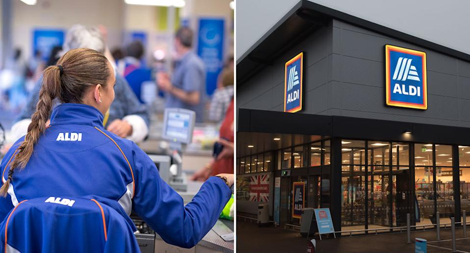 An Aldi staff member uses a checkout and an Aldi is pictured from outside.