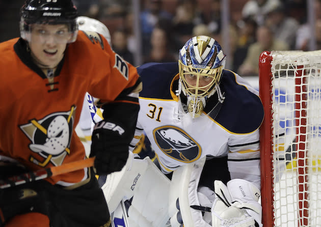 """<a class=""""link rapid-noclick-resp"""" href=""""/nhl/teams/buf/"""" data-ylk=""""slk:Buffalo Sabres"""">Buffalo Sabres</a> goalie <a class=""""link rapid-noclick-resp"""" href=""""/nhl/players/5341/"""" data-ylk=""""slk:Anders Nilsson"""">Anders Nilsson</a>, of Sweden, stands in front of his net during the second period of an NHL hockey game against the <a class=""""link rapid-noclick-resp"""" href=""""/nhl/teams/ana/"""" data-ylk=""""slk:Anaheim Ducks"""">Anaheim Ducks</a> Friday, March 17, 2017, in Anaheim, Calif. (AP Photo/Jae C. Hong)"""