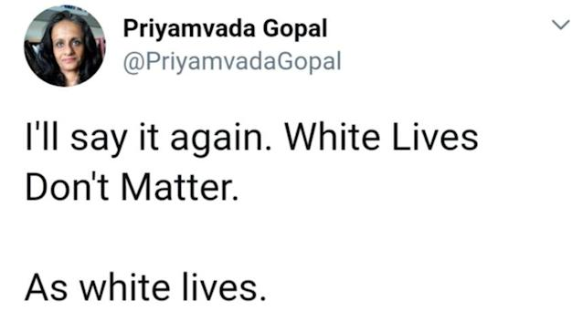 A controversial tweet by Dr Priyamvada Gopal has been deleted by Twitter, she has confirmed. (SWNS)
