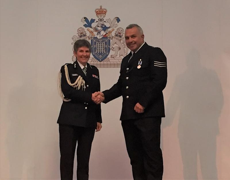 Matt Ratana, a Met Police sergeant who was shot dead while on duty, with commissioner Dame Cressida DickMetropolitan Police