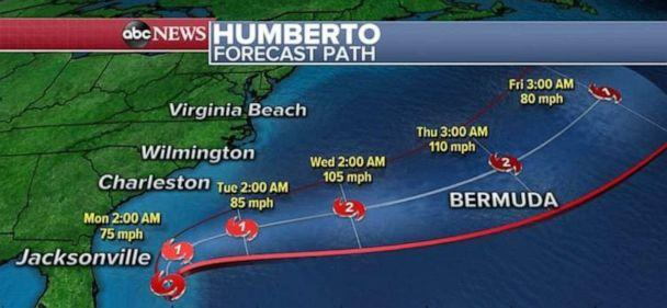 PHOTO: Tropical Storm Humberto should develop into a hurricane but is not expected to make landfall anywhere. (ABC News)