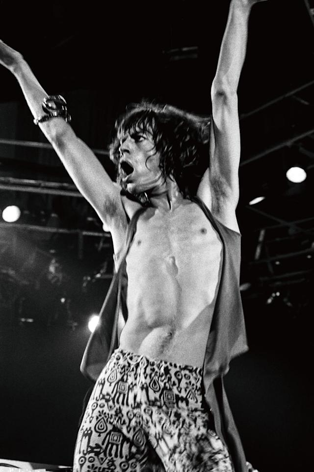 "<p>Mick Jagger at San Francisco's Cow Palace, where the Rolling Stones performed over two nights in July 1975. According to Resnick, the show ""featured a huge inflatable phallus, which Jagger sang in front of.""</p>"
