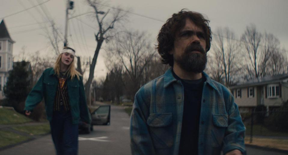 Elle Fanning as Grace and Peter Dinklage as Del in <i>I Think We're Alone Now</i> (The Movie Partnership)