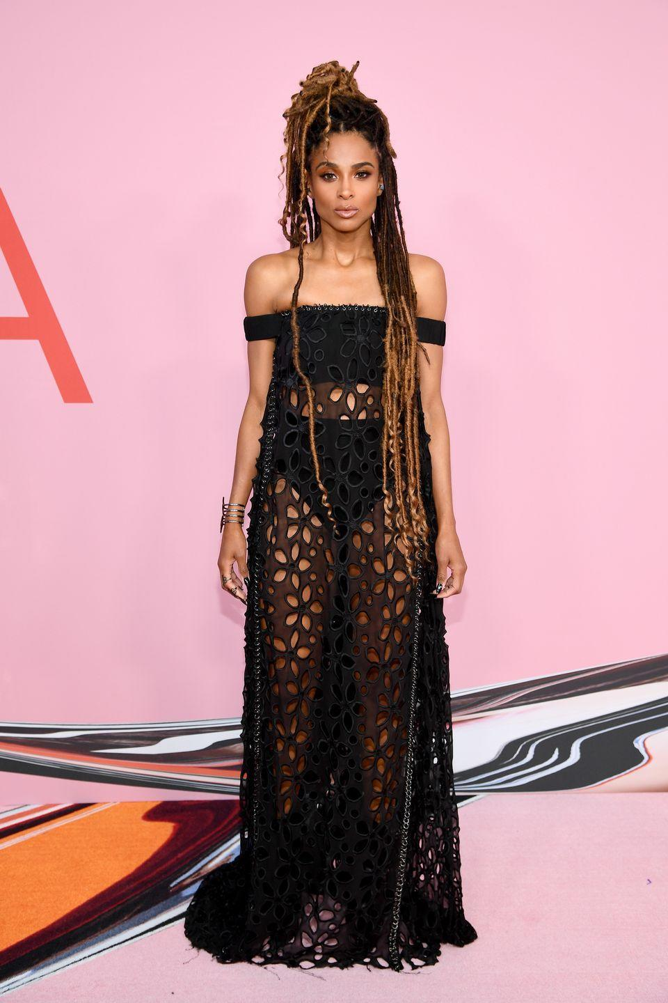 """<p>Singer <strong>Ciara</strong> is serving us boho chic with these long <a href=""""https://www.goodhousekeeping.com/beauty/hair/g23012086/crochet-hairstyles/"""" rel=""""nofollow noopener"""" target=""""_blank"""" data-ylk=""""slk:faux locs"""" class=""""link rapid-noclick-resp"""">faux locs</a>! This is a great protective style for those that love locs but don't want the permanent commitment. </p>"""