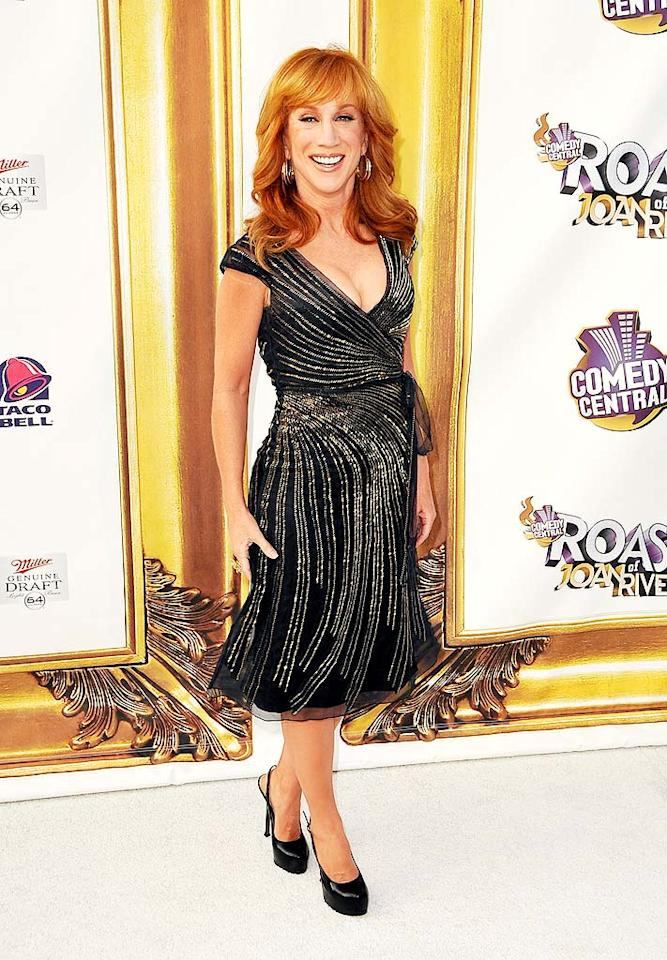 "Love her or hate her, there's no denying the fact that Kathy Griffin looked absolutely fabulous for her role as emcee of Comedy Central's roast of Joan Rivers. The fiery redhead knocked 'em dead in a Carolina Herrera party dress and YSL Trib Twos. Jordan Strauss/<a href=""http://www.wireimage.com"" target=""new"">WireImage.com</a> - July 26, 2009"