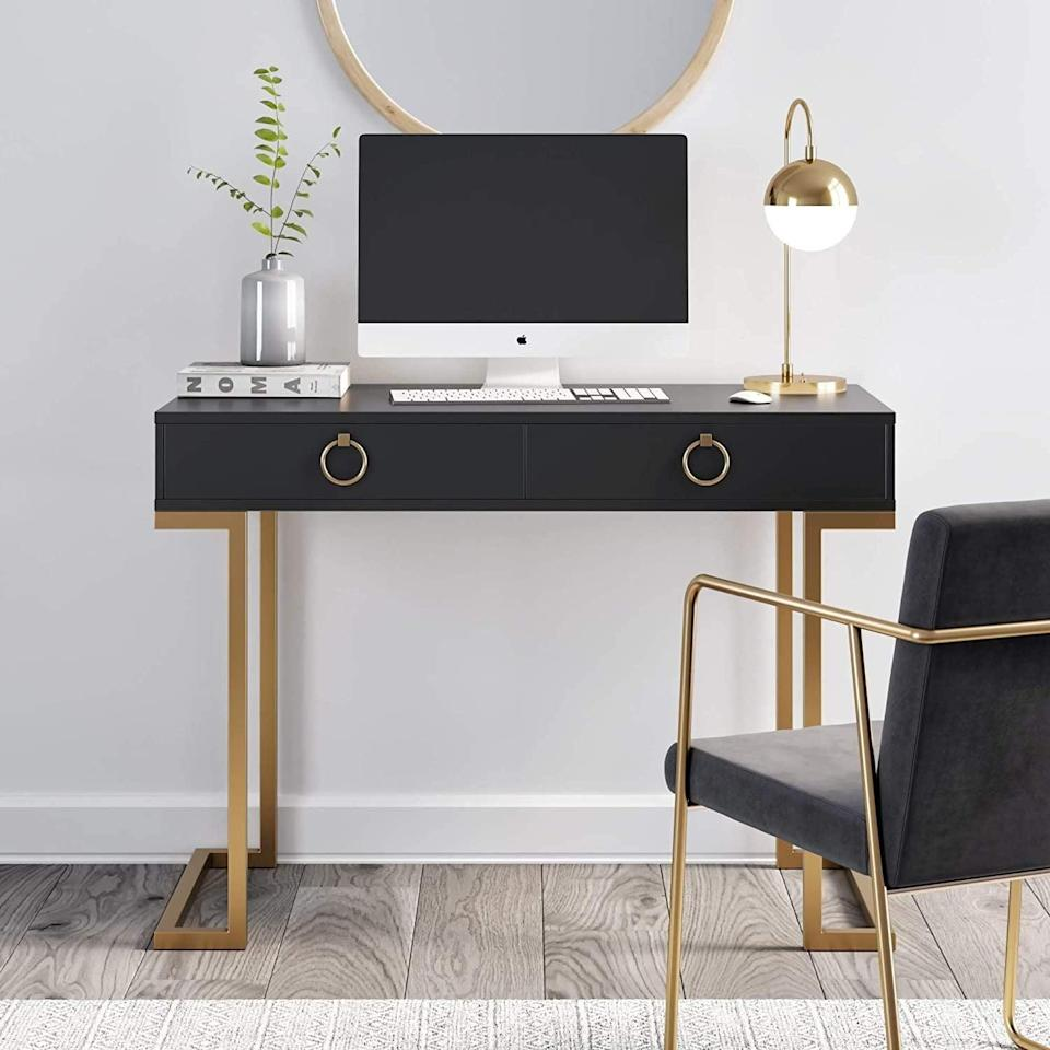<p>Looking for a luxe statement piece? This <span>Nathan James Leighton Home Office Computer Desk</span> ($254) will do the job.</p>