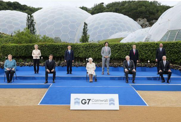 PHOTO: Leaders of the G7 attend a reception with Queen Elizabeth II at The Eden Project on June 11, 2021 in St Austell, Cornwall, England. (WPA Pool/Getty Images)
