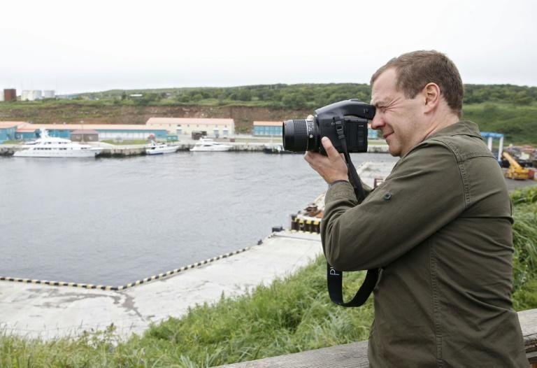 Russian Prime Minister Dmitry Medvedev visits Iturup island, one of the Kurils, in August 2015