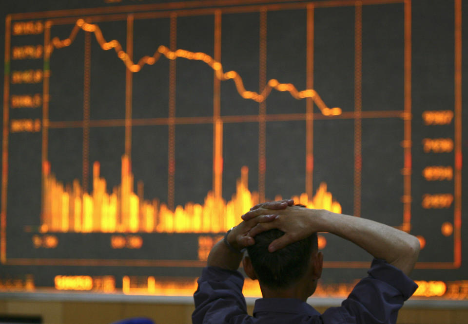 Stocks were trading lower off the back of fears about inflation. Photo: Reuters