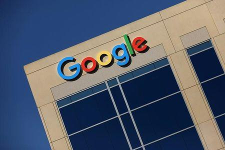 FILE PHOTO - Google logo on office building in Irvine, California