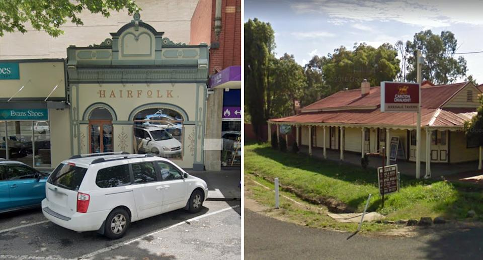 Street view images of Hairfolk in Bendigo (left) and Axedale Tavern (right).