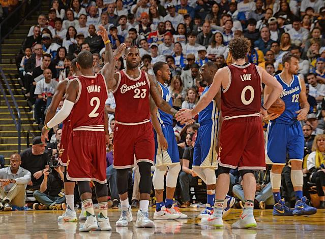 LeBron James' partnership with Kyrie Irving and Kevin Love produced three straight NBA Finals appearances and the first NBA championship in Cavaliers history. (Getty)