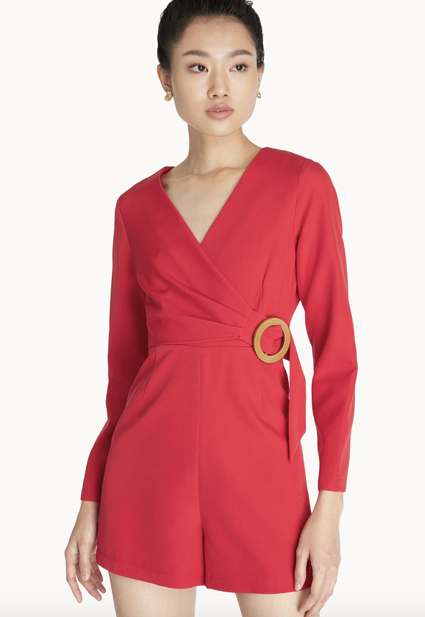 PHOTO: Pomelo. Wooden Ring Wrap Romper, Red