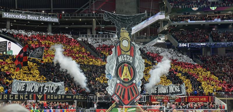 ATLANTA, GA DECEMBER 08: Atlanta fans present a train tifo prior to the start of the MLS Cup between the Portland Timbers and Atlanta United FC on December 8th, 2018 at Mercedes-Benz Stadium in Atlanta, GA. (Photo by Rich von Biberstein/Icon Sportswire via Getty Images)