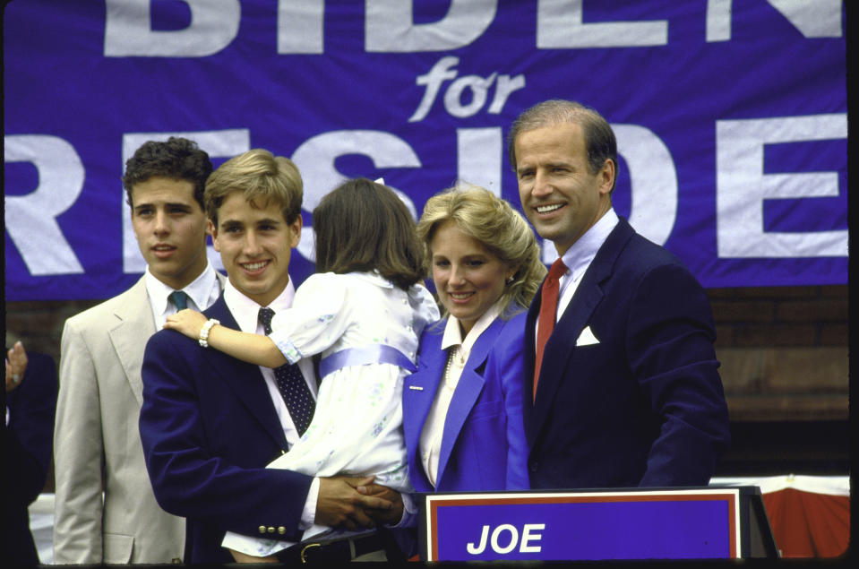 Joe Biden standing with his family after announcing his candidacy for the Democratic presidential nomination.