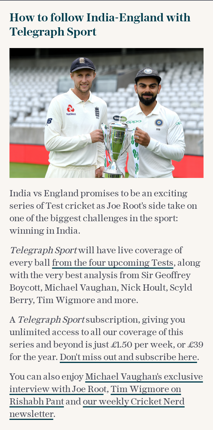How to follow India-England with Telegraph Sport