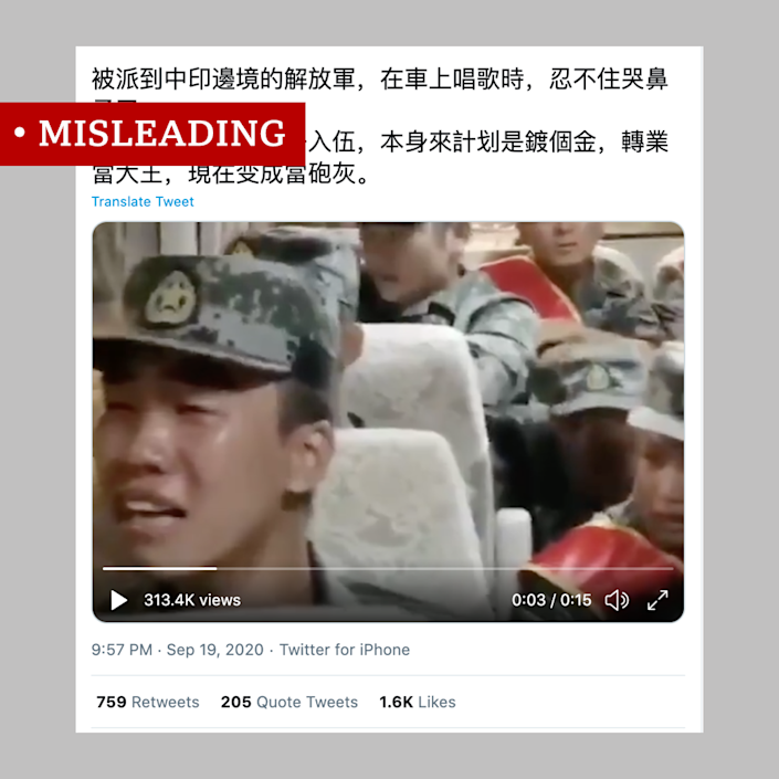 Misleading video of crying Chinese soldiers