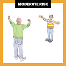 <p>It's a moderate risk as long as the visit and the guest list are both short. The CDC says that a small number of people from the same community or town is less risky. Rely on the standbys: Wear a mask, wash your hands, avoid contact, and stay six feet apart.</p>