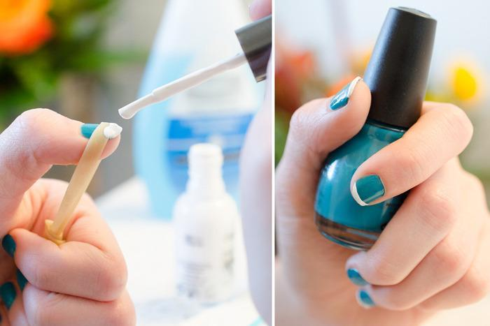 Skip the expensive manicure and easily create your own french tips by stretching a rubber band across your nail.
