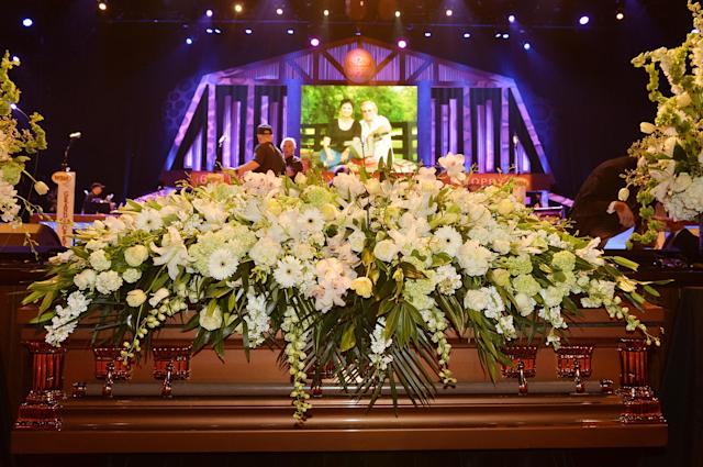 NASHVILLE, TN - MAY 02: (EXCLUSIVE COVERAGE) General view of the atmosphere at the funeral service for George Jones at The Grand Ole Opry on May 2, 2013 in Nashville, Tennessee. Jones passed away on April 26, 2013 at the age of 81. (Photo by Rick Diamond/Getty Images for GJ Memorial)
