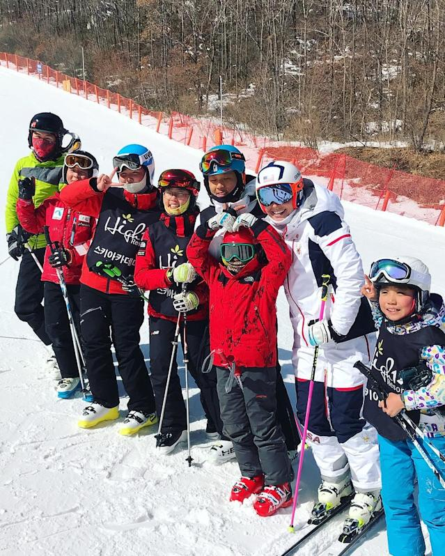 <p>lindseyvonn: Pretty windy up there today but we finally had our first day of skiing here in Korea! I'm finding out the people here are really into ski racing! Loved seeing all the kiddos out there ripping! (I can hardly recognize my team in the new uniforms!) (Photo via Instagram/lindseyvonn) </p>