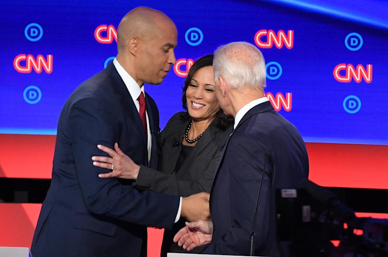 Democratic presidential hopefuls Cory Booker, Kamala Harris and Joe Biden shake hands after the second round of the second Democratic primary debate. (Photo: Jim Watson/AFP/Getty Images)