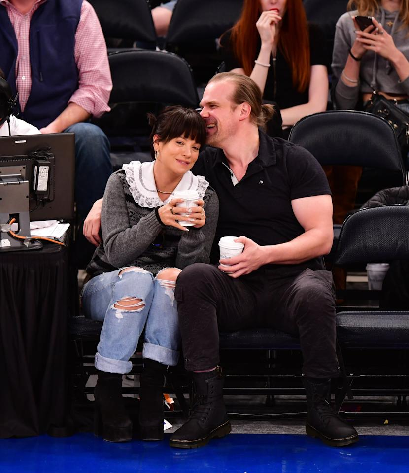 <p>The duo had been rumored to be dating for a while, but all doubts were removed when they were spotted cozying up and laughing together in the front row of a Knicks game while in New York for David to host <strong>Saturday Night Live</strong>.</p>