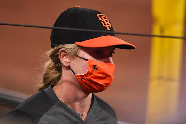 Alyssa Nakken looks on, coaching during the Giants' game against the Rangers on Aug. 1. (Photo by Cody Glenn/Icon Sportswire via Getty Images)