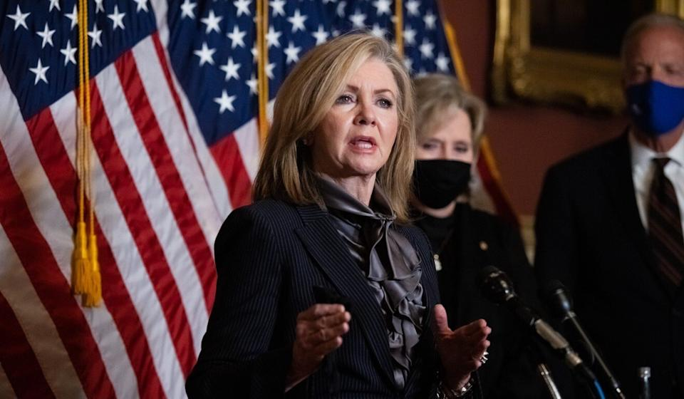 "US Senator Marsha Blackburn, Republican of Tennessee, maintains an entire page on her website describing how she has been ""taking on China since day one"", but her state's commissioner of economic development hopes to expand business ties with Chinese firms. Photo: Washington Examiner via Bloomberg"