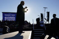 President Donald Trump dances after speaking at a campaign rally at Green Bay Austin Straubel International Airport, Friday, Oct. 30, 2020, in Green Bay, Wis. (AP Photo/Alex Brandon)