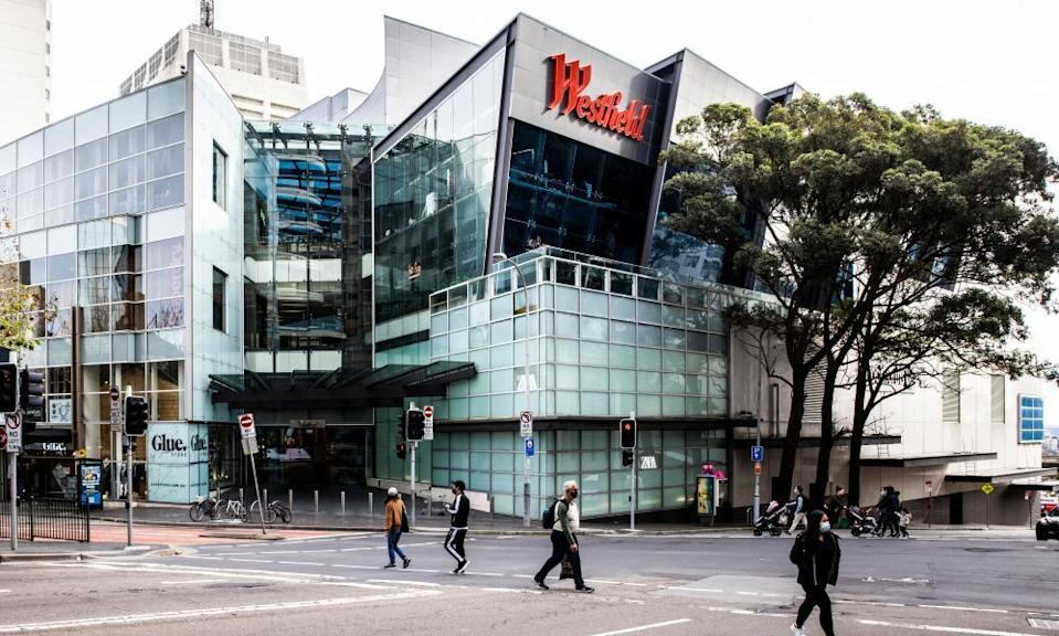 Westfield Bondi Junction in Sydney's eastern suburbs, where there have been a number of instances of aerosol transmission.