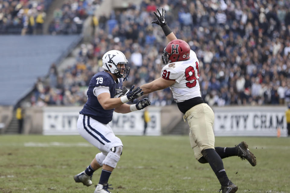 Yale's Karl Marback #79 in action, blocking against Harvard during an NCAA college football game on Saturday, November 18, 2017 in New Haven, CT. Yale won the game 24-3 and won their first outright Ivy League title since 1980. (AP Photo/Gregory Payan)