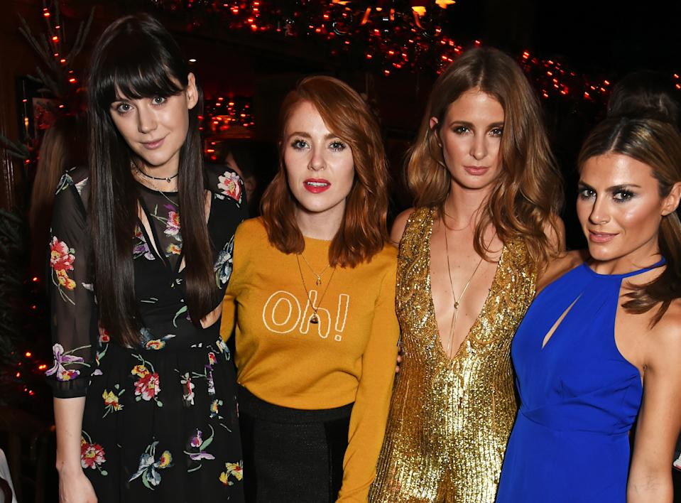 LONDON, ENGLAND - DECEMBER 09: (L to R) Lilah Parsons, Angela Scanlon, Millie Mackintosh and Zoe Hardman attend the Sunday Times Style Christmas Party at Tramp on December 9, 2015 in London, England. (Photo by David M. Benett/Dave Benett/Getty Images for Sunday Times Style)