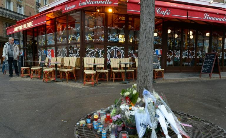 Candles and flowers in front of Paris restaurant Le Comptoir Voltaire, one of the targets of the November 13 terror attacks