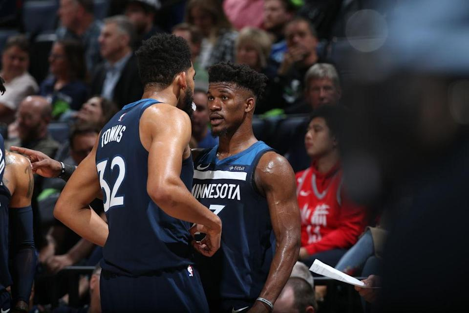 Jimmy Butler and Karl-Anthony Towns had their share of run-ins as Minnesota Timberwolves teammates. (Getty Images)