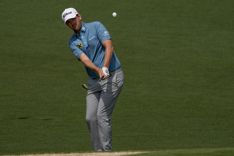Bernd Wiesberger, of Austria, watches his chip to the second green during the first round of the Masters golf tournament on Thursday, April 8, 2021, in Augusta, Ga. (AP Photo/Gregory Bull)