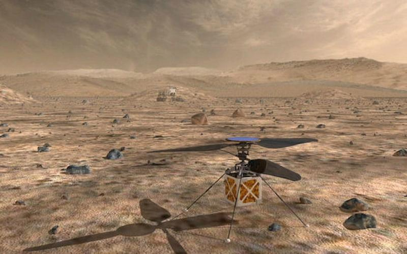 An image produced by Nasa showing how the Mars helicopter would look on the Red Planet - Nasa