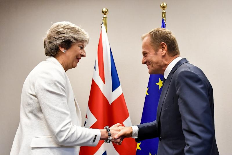 British Prime Minister Theresa May (L) is welcomed by European Council President Donald Tusk for a bilateral meeting during an EU summit in Brussels, in October 2017 (AFP Photo/Geert Vanden Wijngaert)
