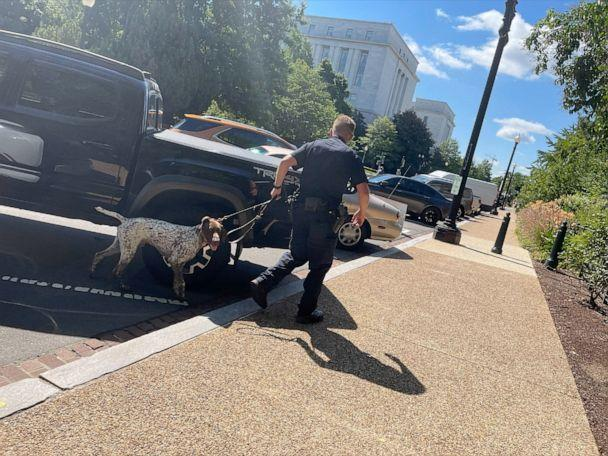 PHOTO: Police activity is pictured near the Cannon House Office Building, which is being evacuated due to a suspicious vehicle at 100 block of 1st St., SE, according to a law enforcement sources. The Library of Congress is also being evacuated. (ABC News)