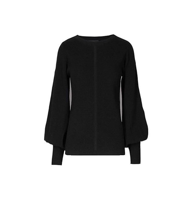 "<p>Wool Blend Textured Bell Sleeve Jumper, $60, <a href=""http://www.marksandspencer.com/wool-blend-textured-bell-sleeve-jumper/p/p60185696?referrer=LinkShareUS&extid=af_rakuten_313970_USA_enTnL5HPStwNw-hSGRUagI05fDze1gZVvUaA"" rel=""nofollow noopener"" target=""_blank"" data-ylk=""slk:marksandspencer.com"" class=""link rapid-noclick-resp"">marksandspencer.com</a><br><br></p>"