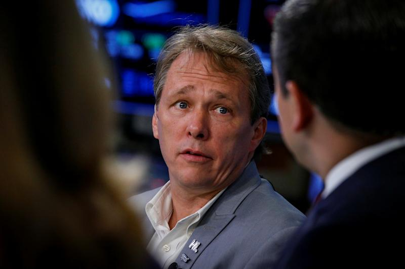 Bruce Linton speaking during an interview on the floor of the New York Stock Exchange in New York, U.S., June 28, 2018. REUTERS/Brendan McDermid