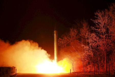 A ballistic rocket launch drill of the Strategic Force of the Korean People's Army (KPA) is seen at an unknown location, in this undated photo released by North Korea's Korean Central News Agency (KCNA) in Pyongyang on March 11, 2016.  REUTERS/KCNA