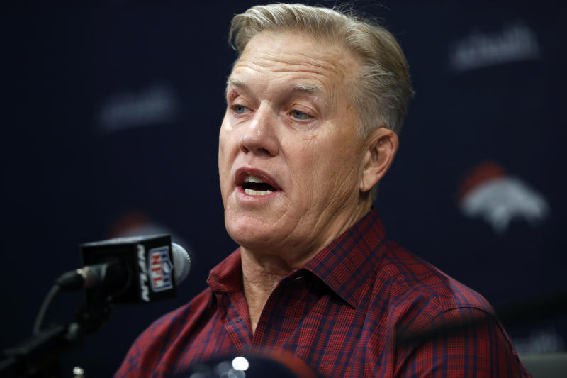 FILE - In this Friday, March 15, 2019, file photo, Denver Broncos general manager John Elway talks to reporters at a news conference at the team's headquarters in Englewood, Colo. Elways trade for Joe Flacco in the offseason sets him up to capitalize once again on a draft deep with defensive playmakers. (AP Photo/David Zalubowski, File)