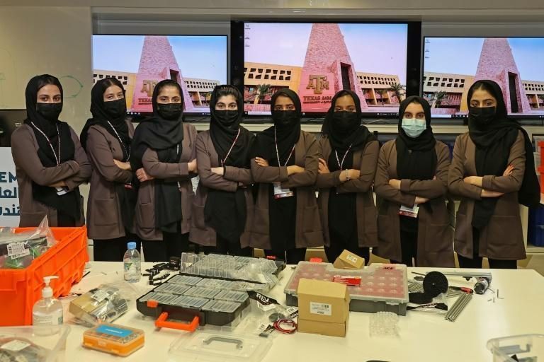 Now back in education and working on their entries for a global robotics competition, the girls worry about their uncertain present but hope they can one day return to Afghanistan (AFP/KARIM JAAFAR)