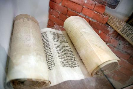 A Torah scroll is seen on display at the Babylonian Jewry Heritage Center in Or Yehuda