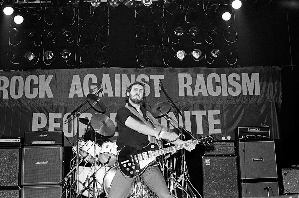Pete Townshend at the 1979 Rock Against Racism festival in London. For five years the founders put on shows in Europe and the U.S. — featuring artists like the Clash and Steel Pulse — in reaction to comments like those Clapton made in Birmingham. - Credit: Virginia Turbett/Redferns/Getty Images