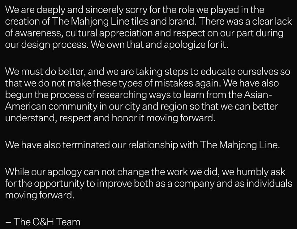 A pop-up on the O&H Brand Design website apologizing for its role in the creation of The Mahjong Line. (Photo: )